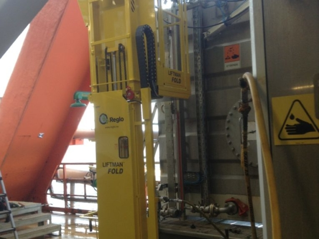 Liftman Fold pneumatic man lift for offshore work at height