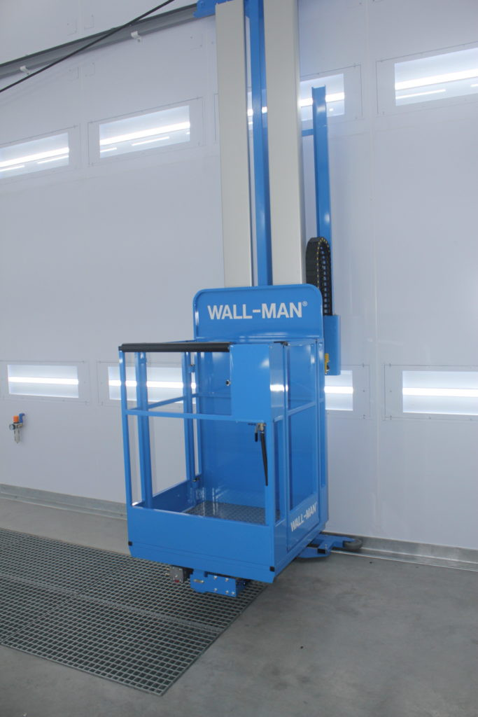 Wall-Man pneumatic man lift inside a spray booth