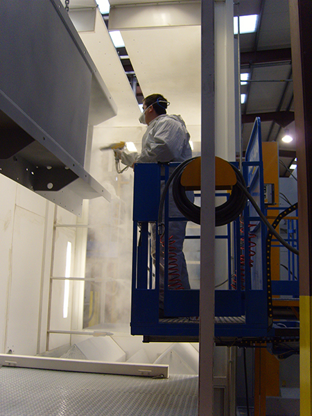Wall-Man pneumatic man lift for powder coating