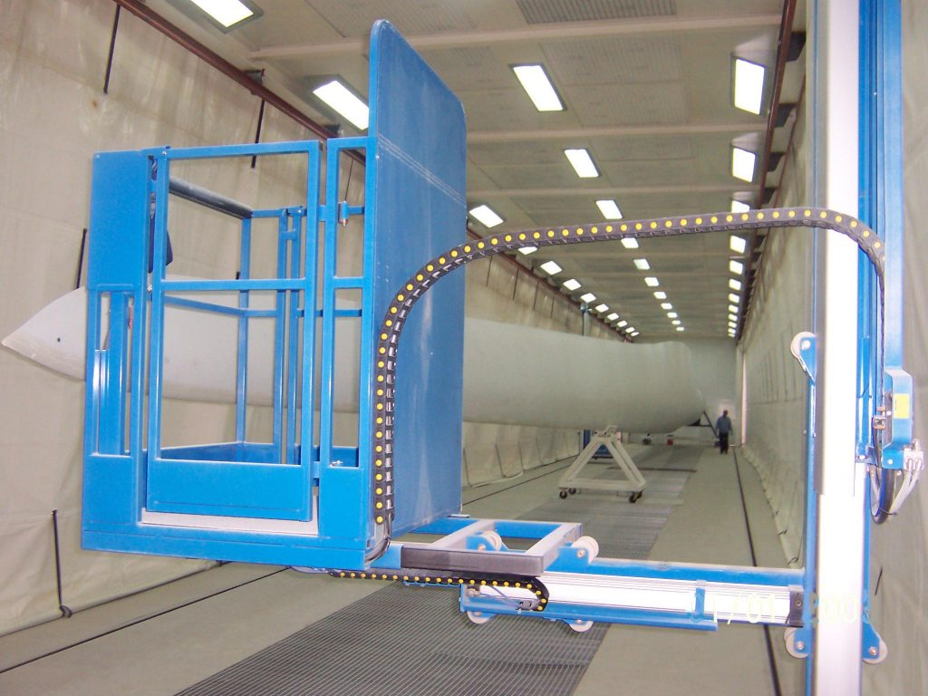 Wall-Man pneumatic man lift for painting of wind turbine blades
